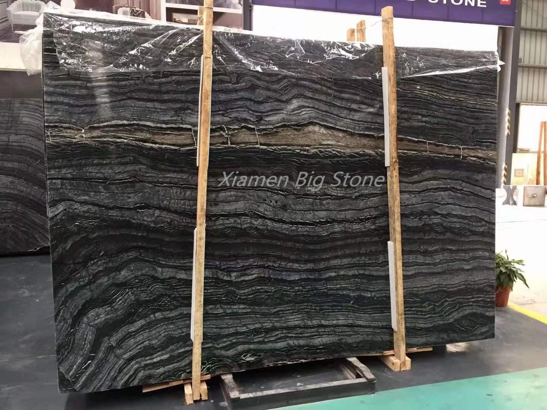 Polished Black Ancient Wood Marble Slab