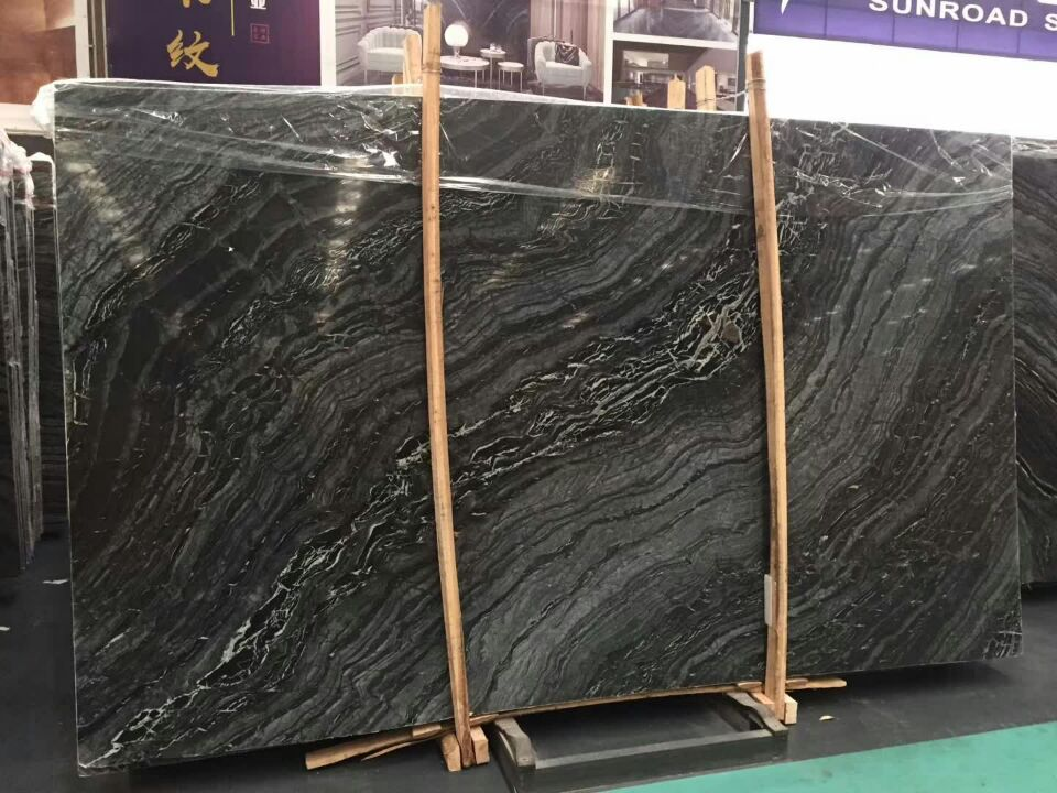 Antiquity Wooden Marble Slabs Chinese Black Marble Slabs