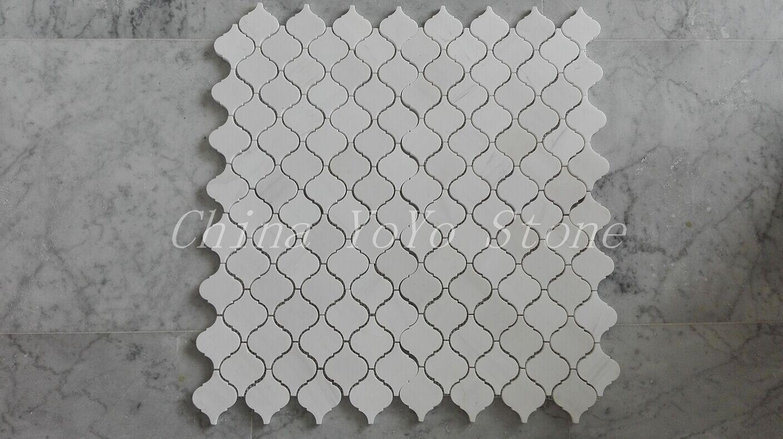 Thassos White Marble Arabesque MosaicTiles