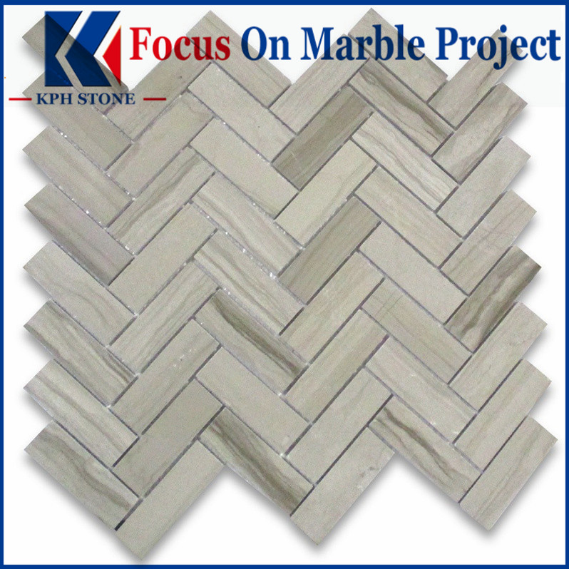 Athens Grey Wood Grain 1x3 Herringbone Mosaic Tile Polished