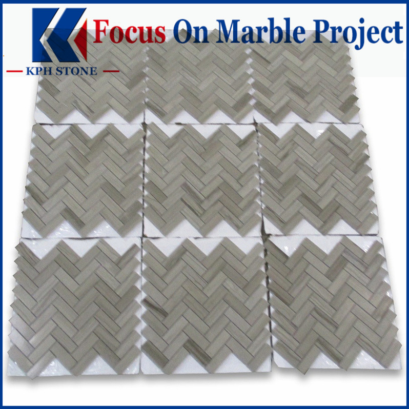 Athens Grey Wood Grain 1x2 Herringbone Mosaic Tile Polished