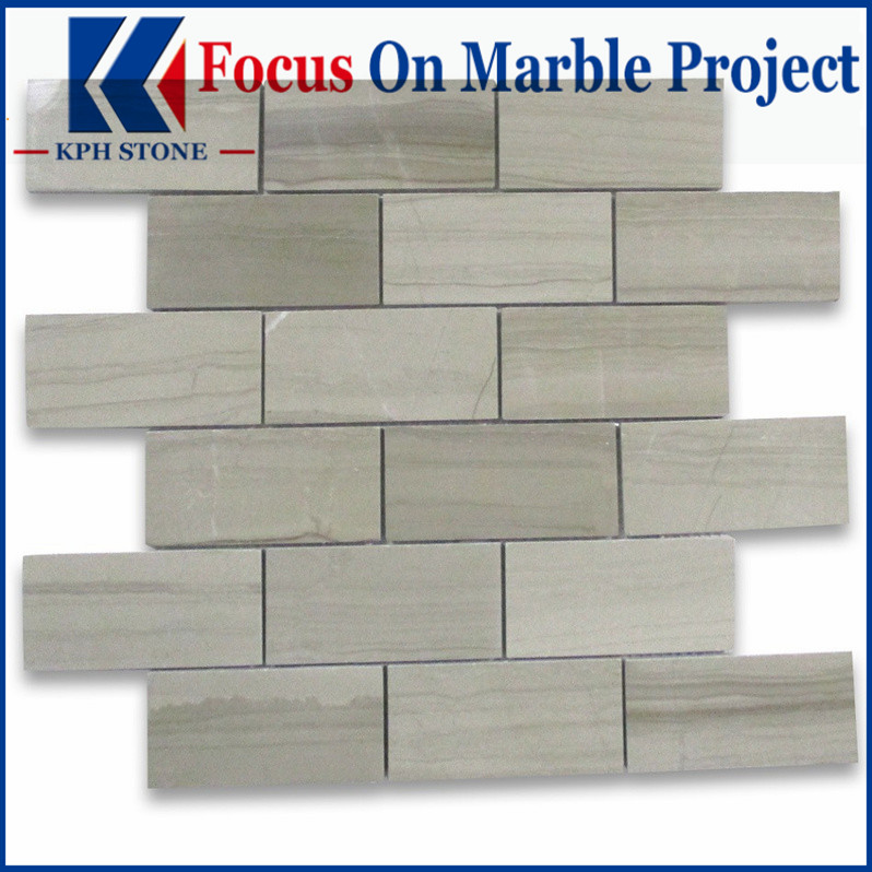 Athens Grey Wood Grain 2x4 Grand Brick Subway Mosaic Tile Polished