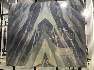 Bookmatched Azul Imperial Quartzite Slabs for Interior Wall