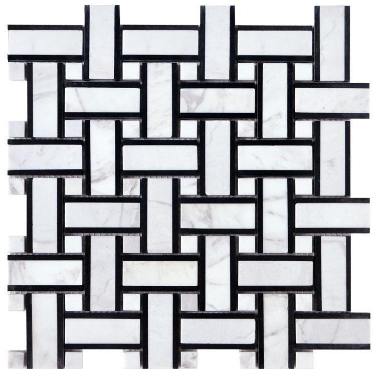 Volakas nero marqina  white jade basketweave natural stone mosaic mesh tiles