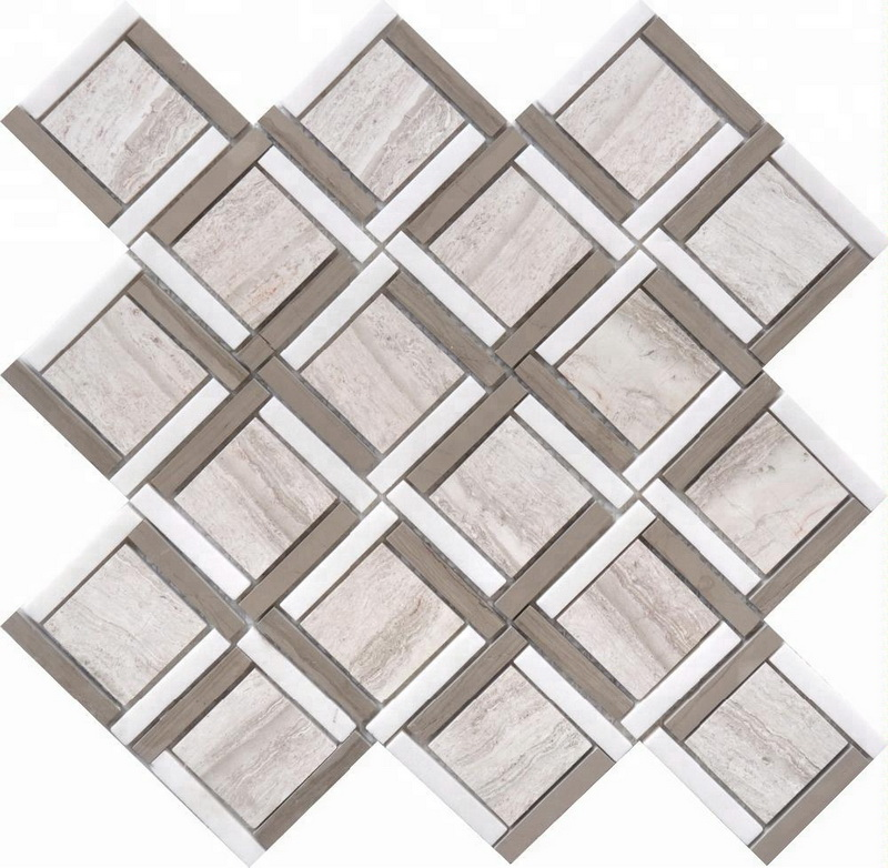 Athen grey white wood  whtie marble hexagon octogan lantern mosaic tile