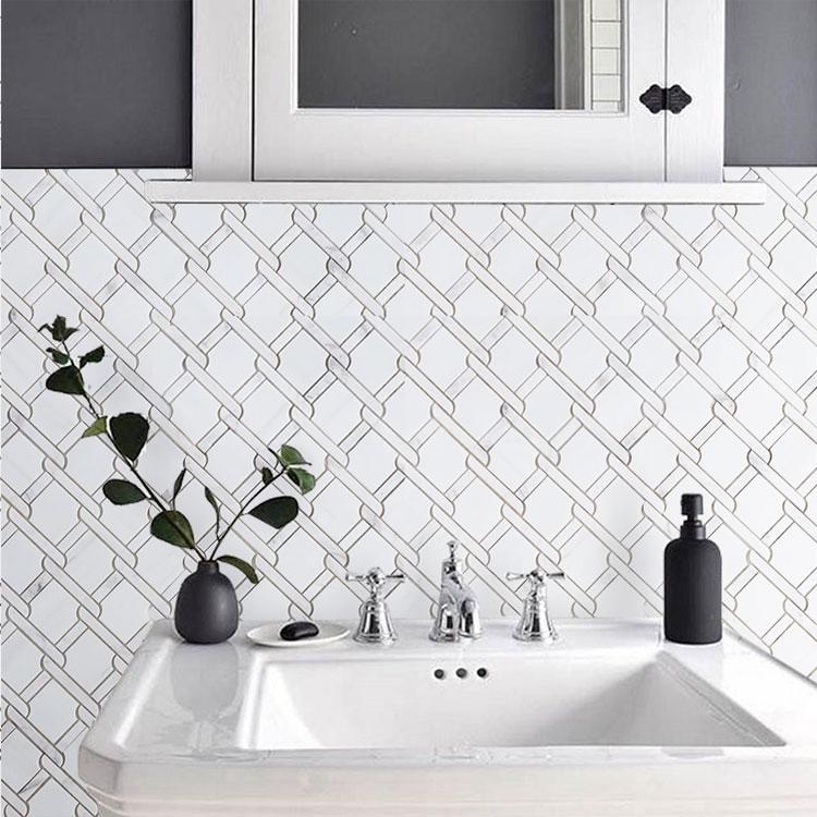 white marble tile White Jade  Volakas octogan 3D stone mosaic tile