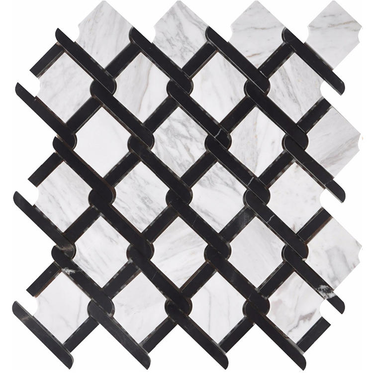 Nero Marquina  Volakas bianco carrara white octogan basketweave new design marble stone mosaic tiles