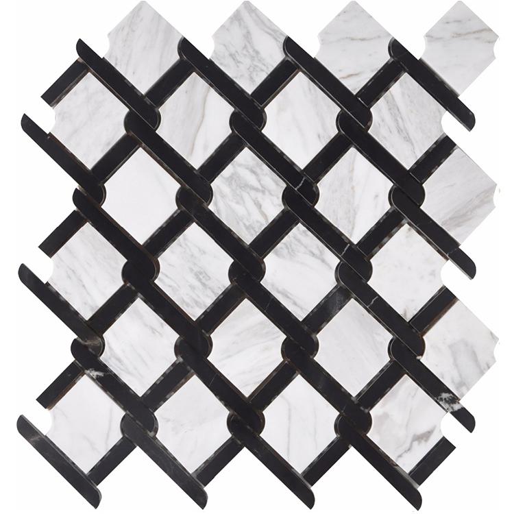 Nero Marquina  Volakas bianco carrara white octogan basketweave new design marble stone mosaic tiles