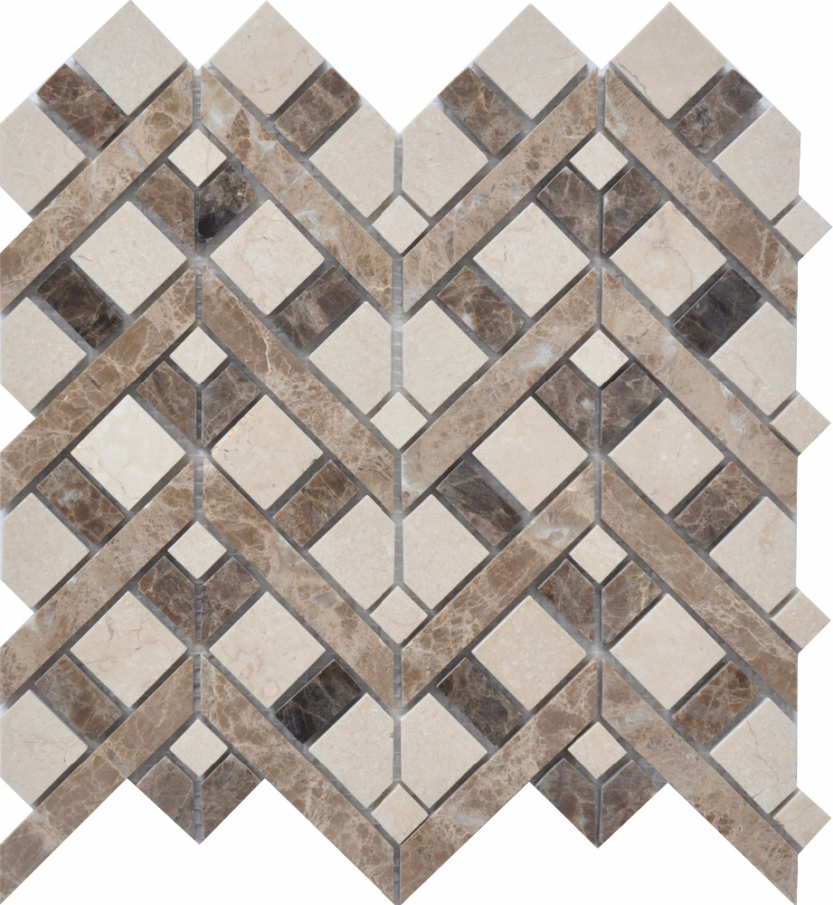 egypt new beige light emperador basketweave mosaic tiles walling and flooring natural stone