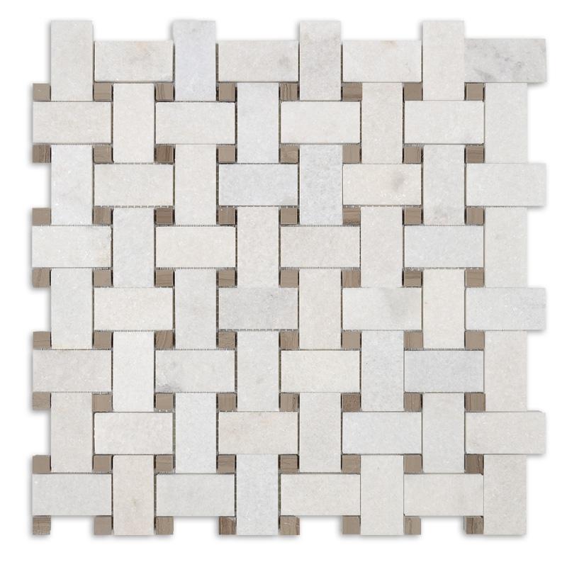 Athen grey  White Jade Basketweave mosaic herringbone lantern stone mosaic tile