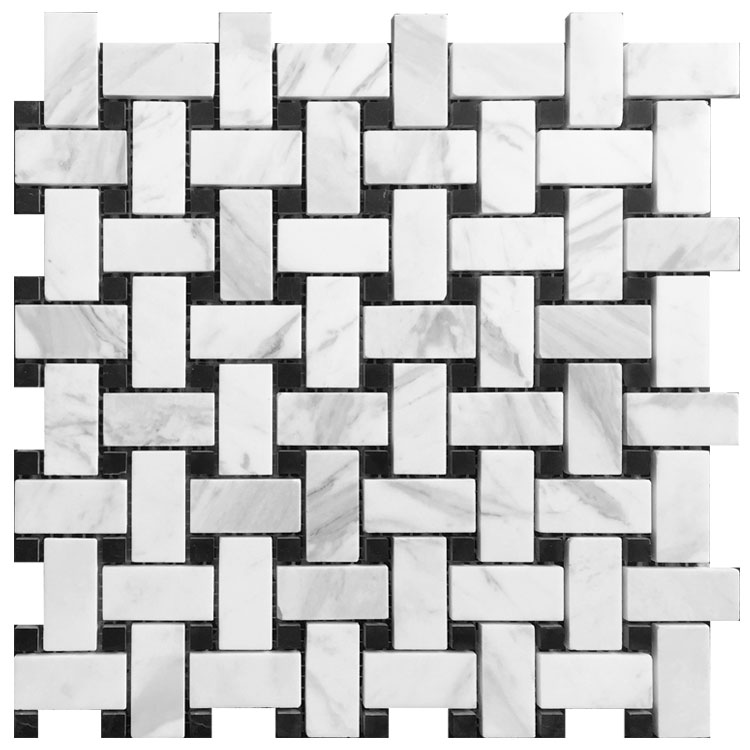 carrara white Nero marquina Basketweave natural stone mosaic wall floor tiles