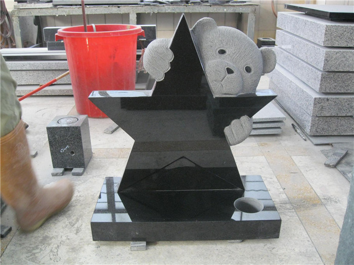 Black Star Granite Headstone With Bear