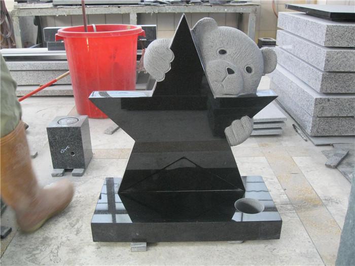 Black Star Granite Headstone With Bear