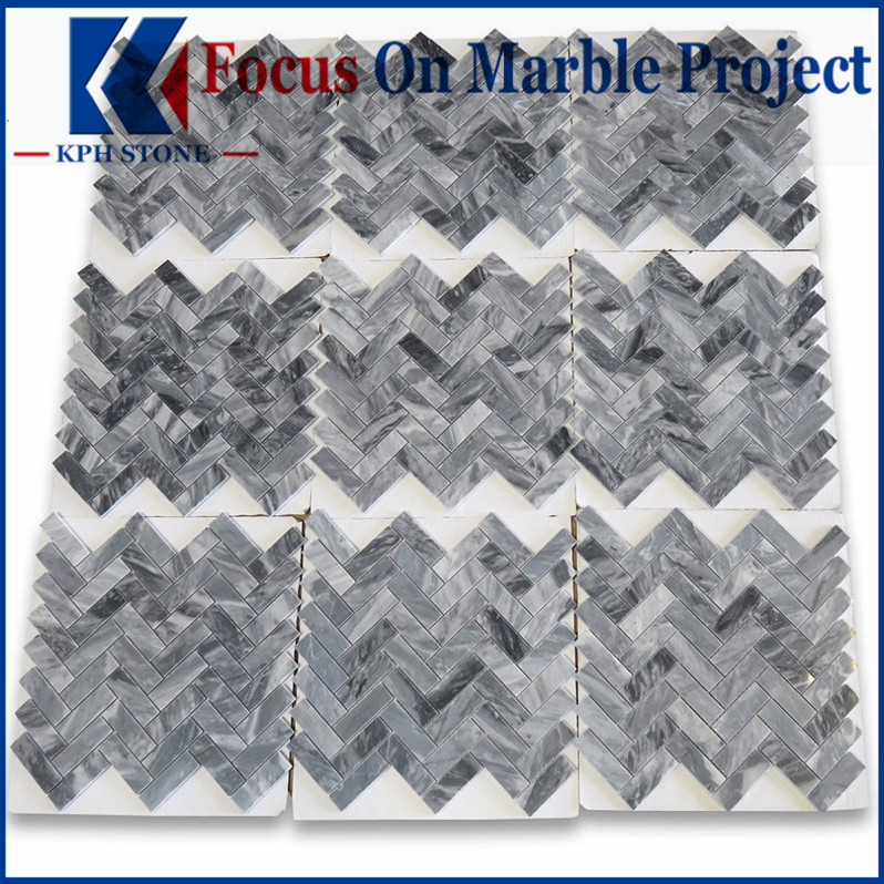 Bardiglio Gray 1x3 Herringbone Mosaic Tile Polished - Marble from Italy