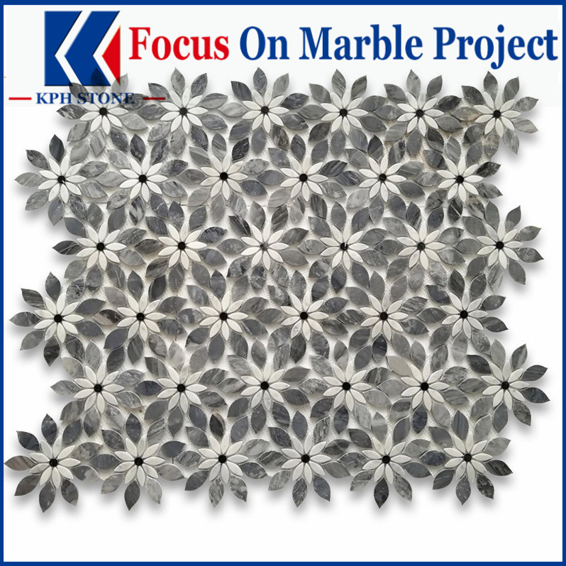 Bardiglio Gray Marble Wildflower Rain Flower Waterjet Mosaic Tile w Carrara & Nero Polished