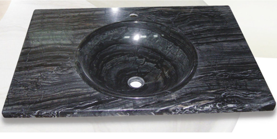 Black Marble Bathroom Vanity Tops with Sink
