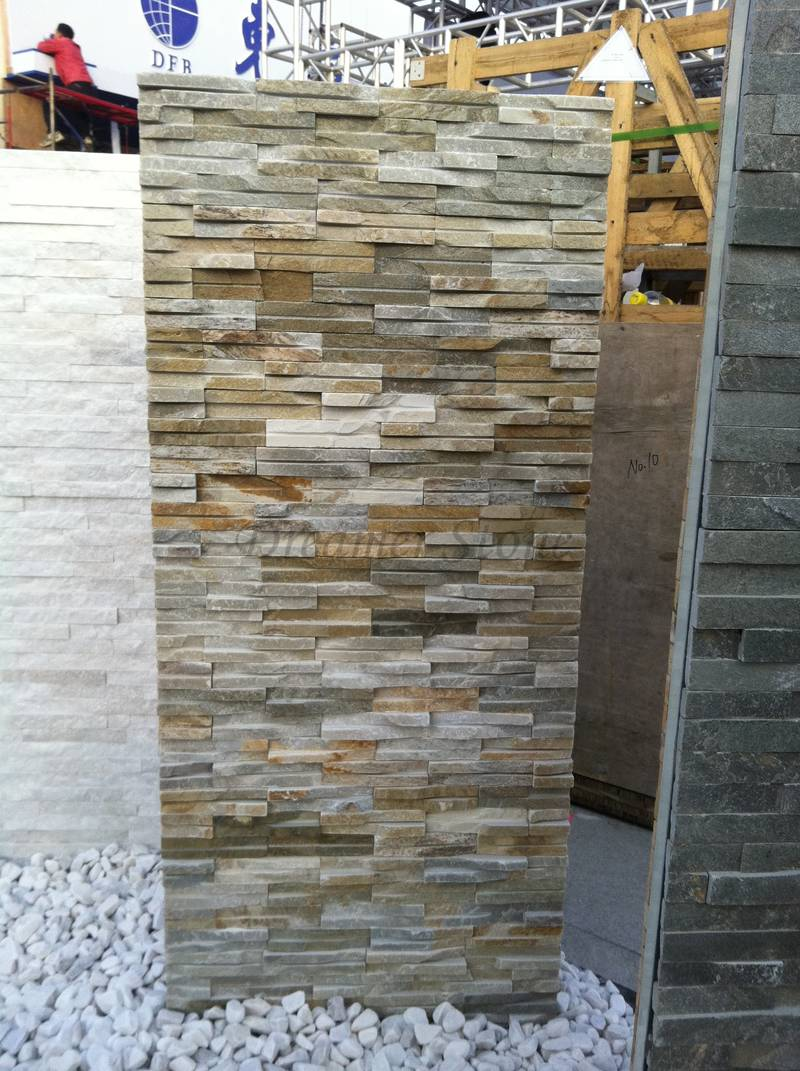 Beautiful Yellow Slate Waterfall Cultured Stone