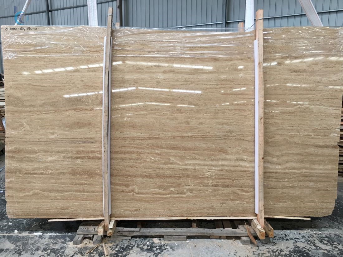 Beige Iran travertine big slab polished