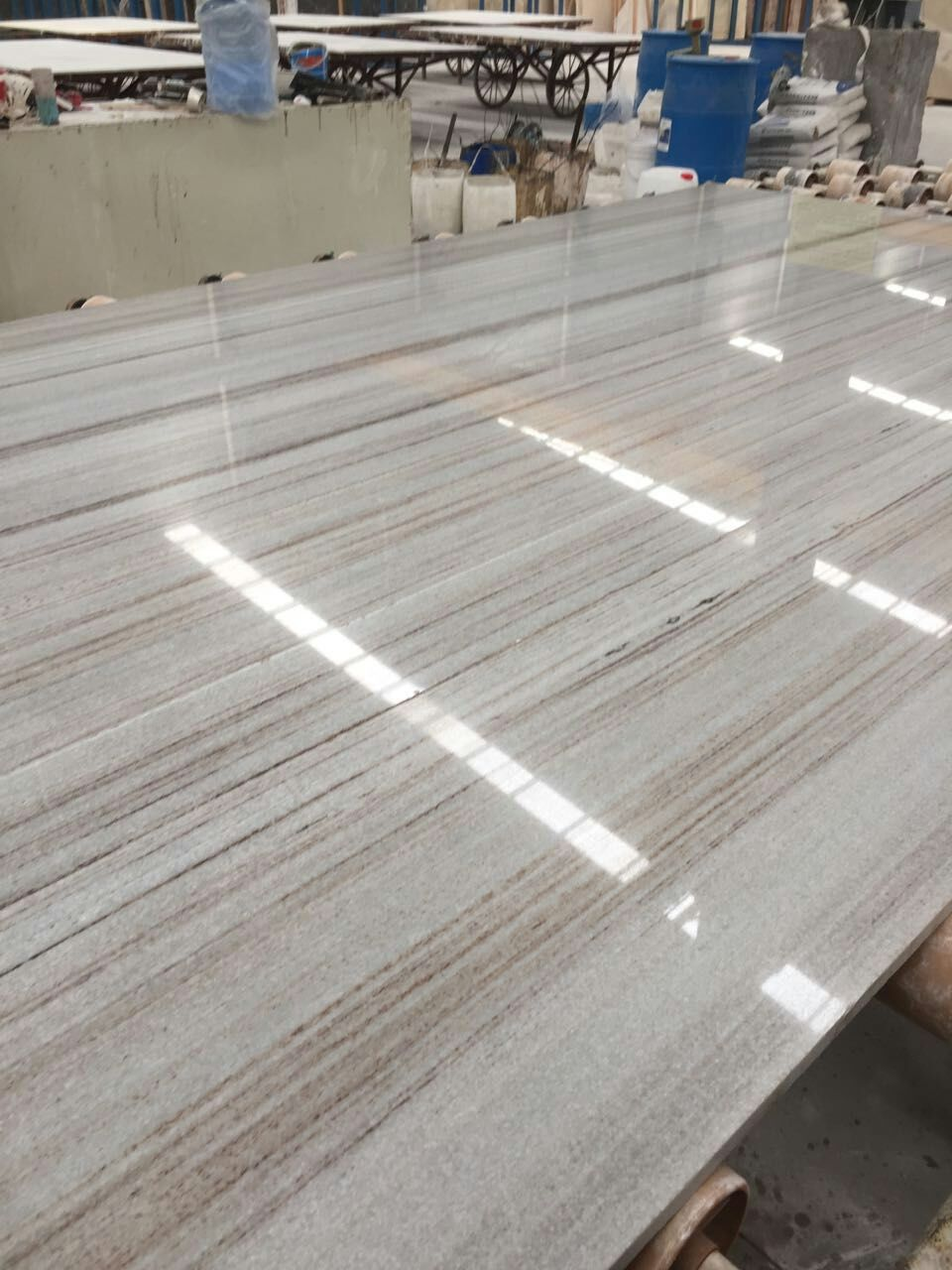 White Crystal Wooden Marble Slabs