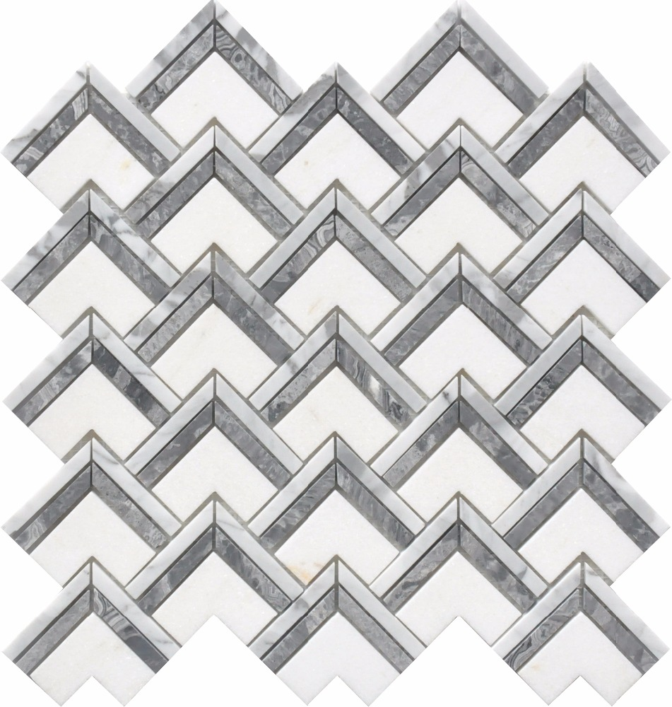 Bianco carrara  crystal white  Sea grey chevron herringbone marble mosaic mesh tiles
