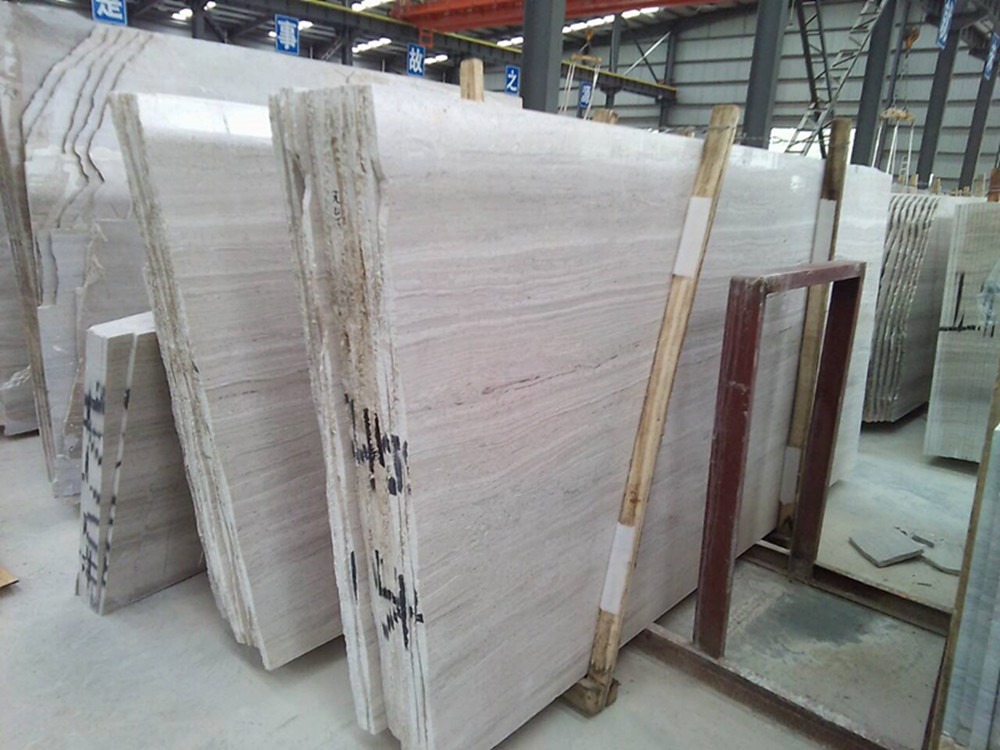 White wood marble big slabs for public project