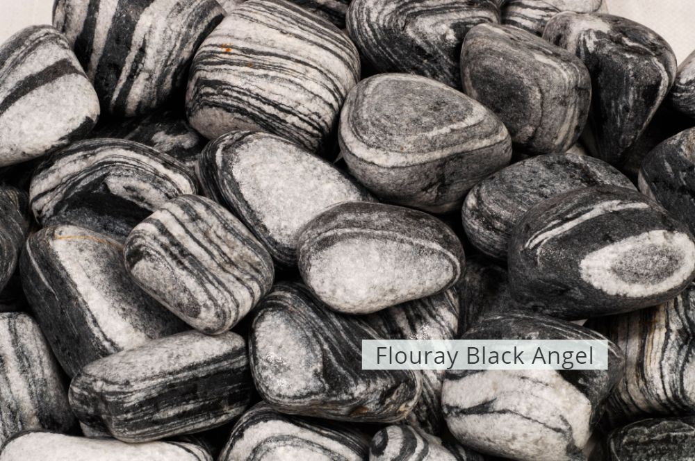 Black Pebble & Gravel  Flouray Black Angel Stone