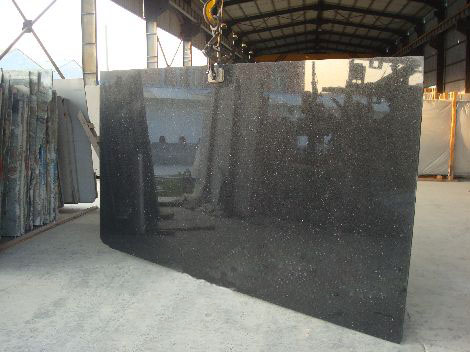India Black Galaxy granite slab