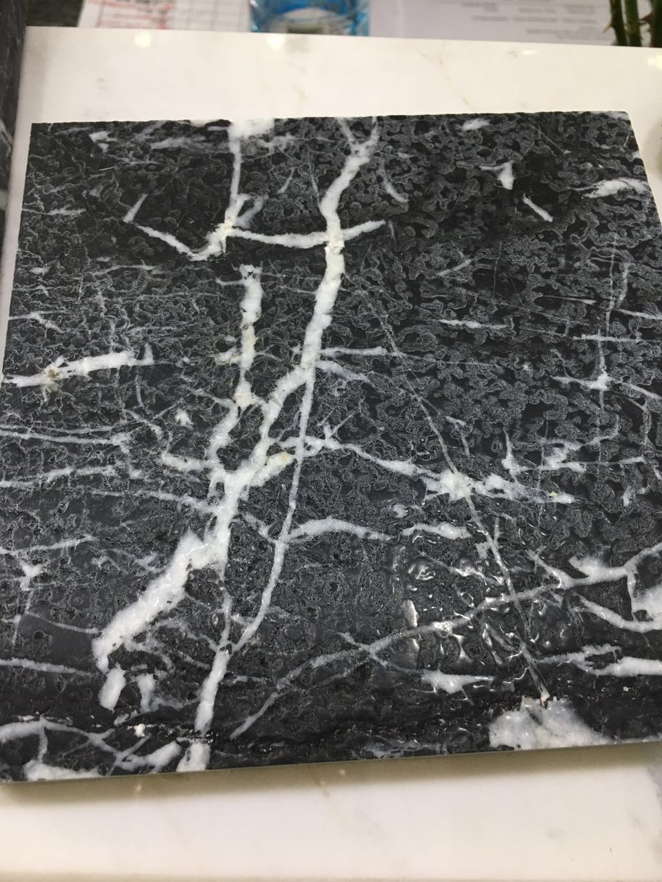 Black Marquina Marble Tiles with Hoar Texture white parallel lines  for indoor high-grade adornment