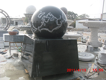 Black Granite Floating Sphere Fountain