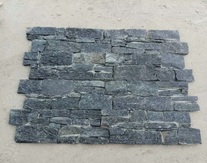 Exterior black quartz stacked wall stone
