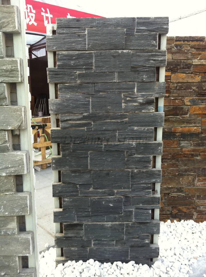 Black slate cement culture stone wall panel