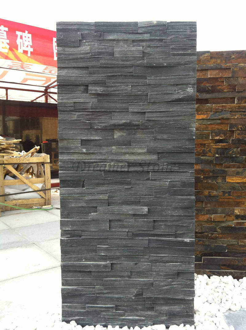 Black slate stacked stone glue