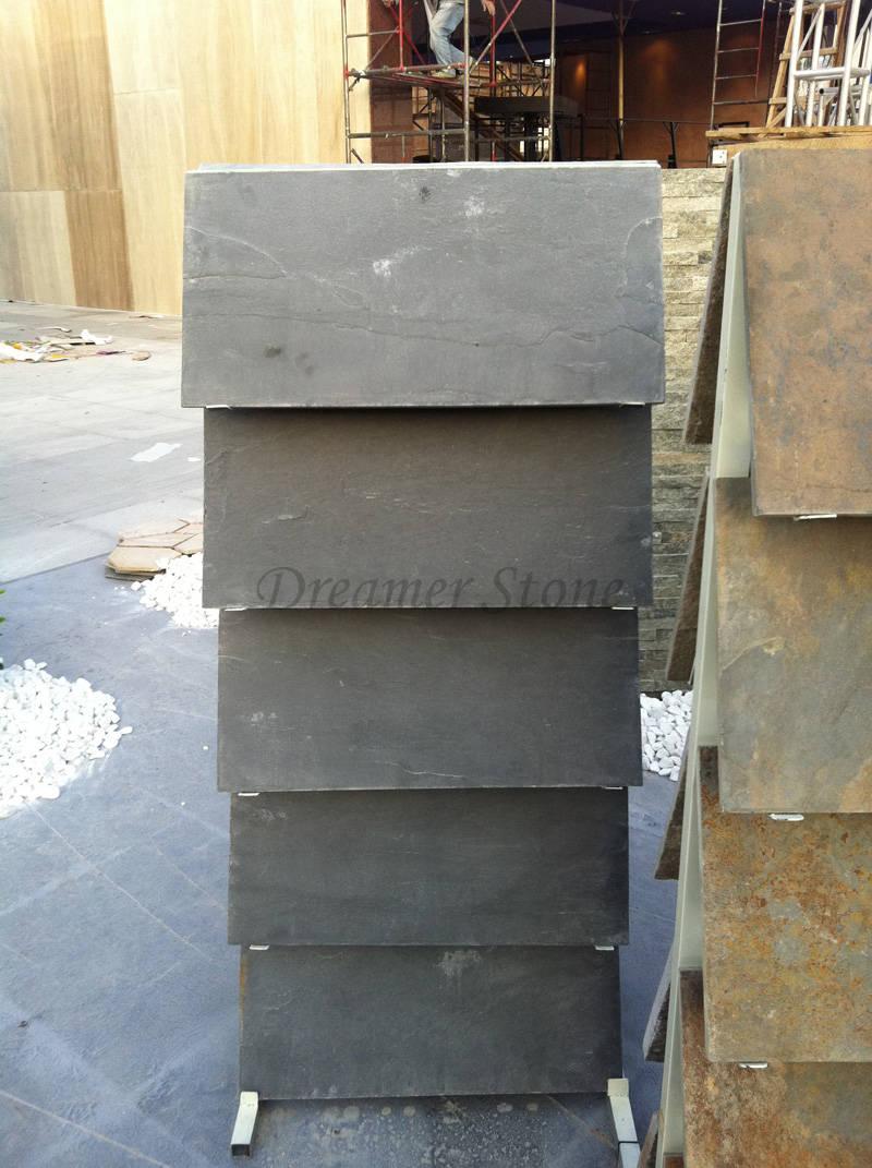 Black slate stone floor and wall tile