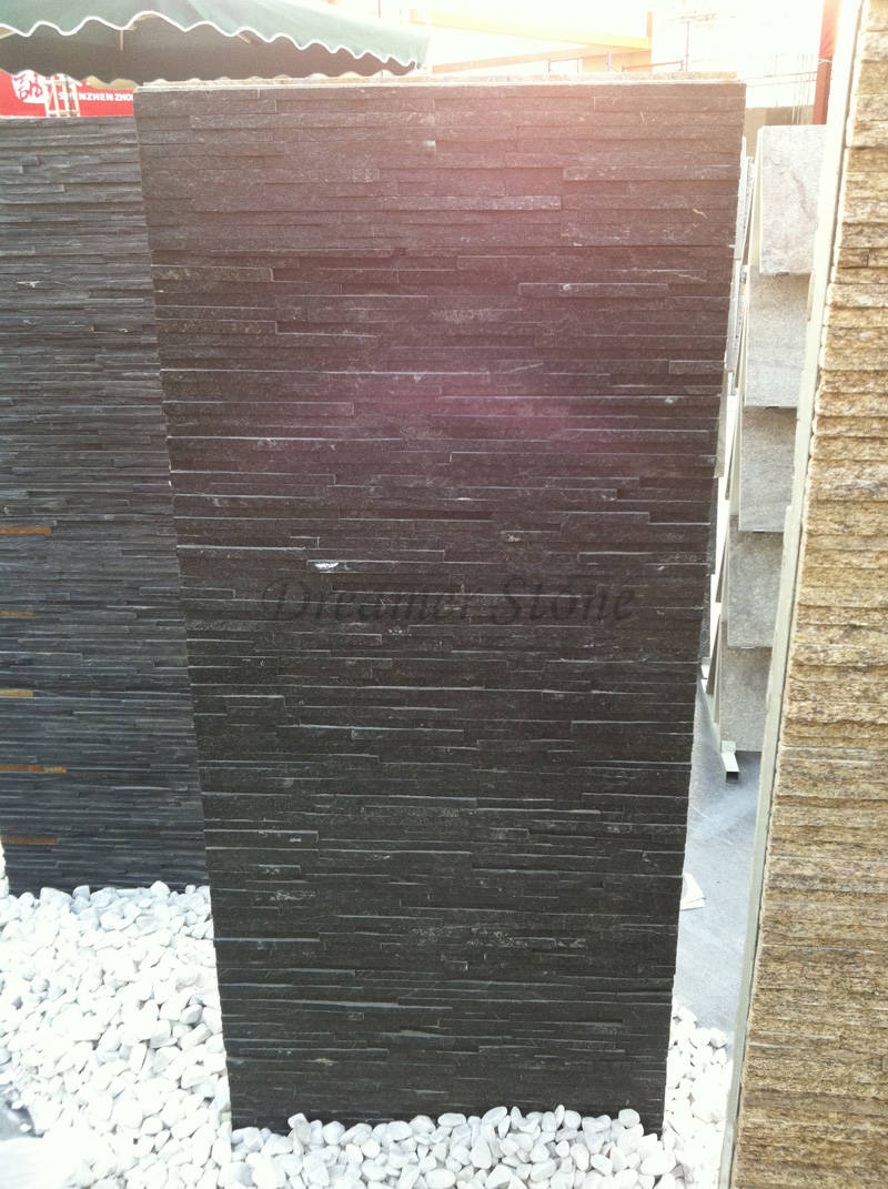 Interior black thin quartz stone veneer for sale