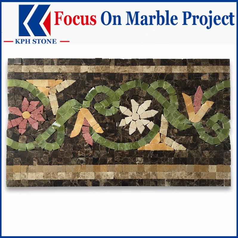 Blossom Emperador Marble Mosaic Border