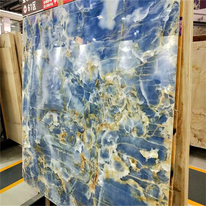 Blue Onyx Marble Slab For Background