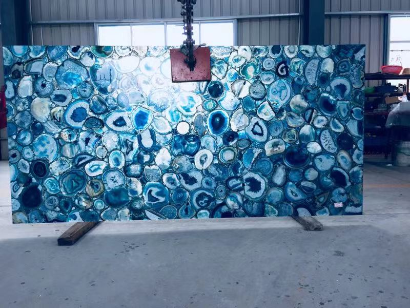 blue agate artificial onyx slab