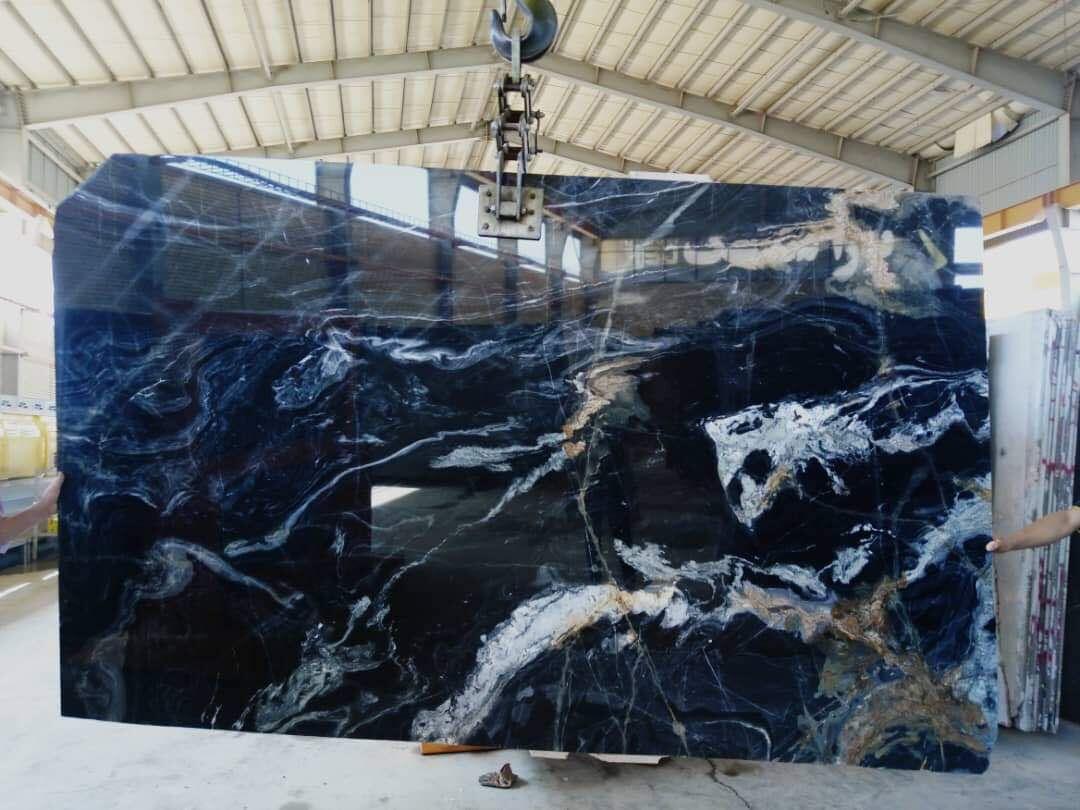 Blue Crystal Marble Slabs & Tiles Iran Blue Polished Slabs For Floor