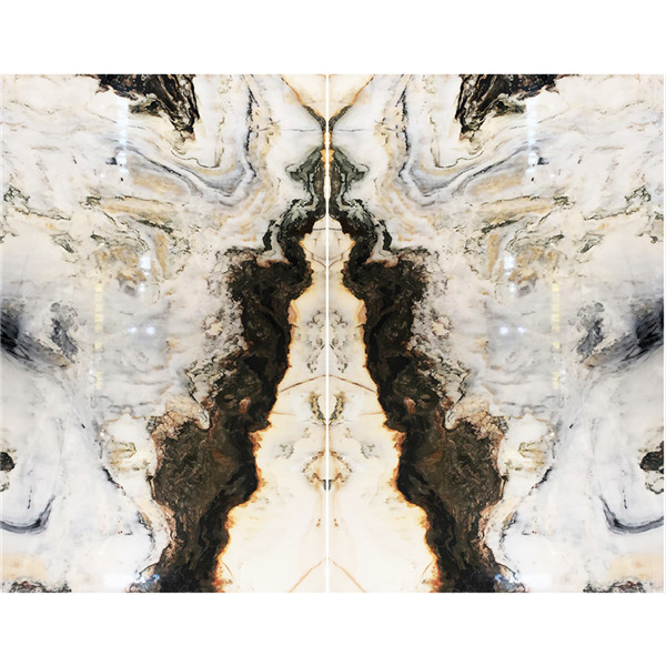 Book Match Mountain White Onyx Marble Slab