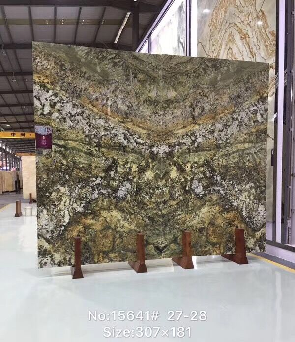 Brazil Luxury Quartzite Slabs Green and Yellow  Poilshed Slab