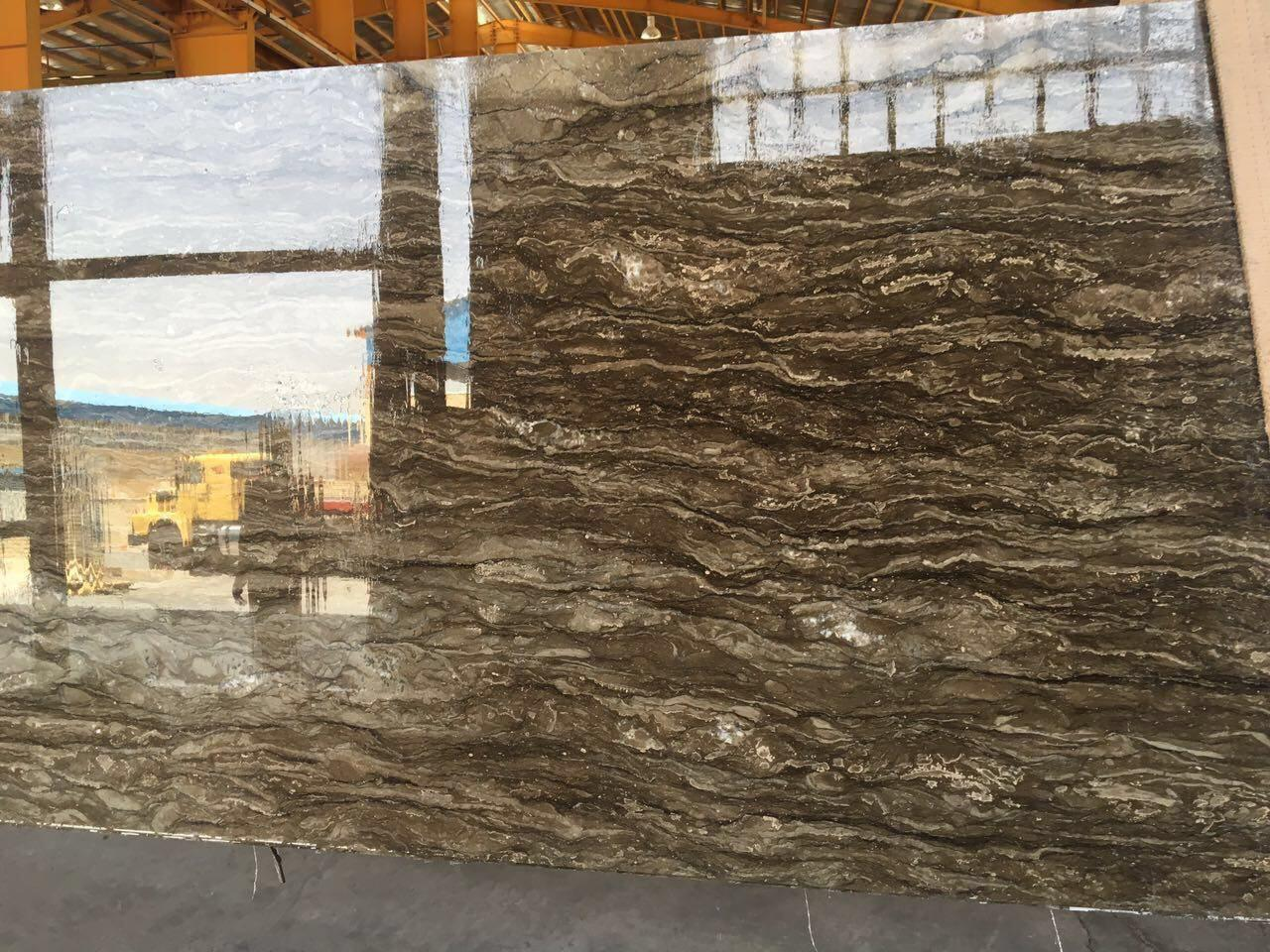 Brown Wave Marble Slab