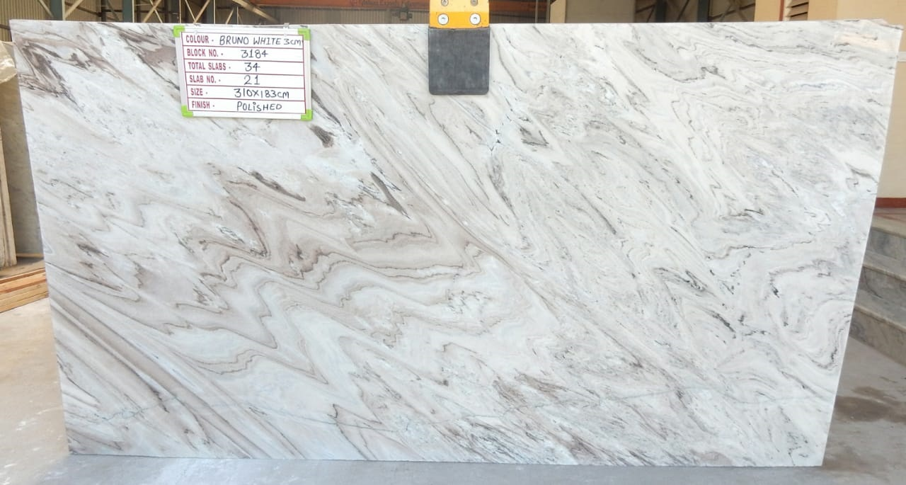 Bruno White Marble Slabs