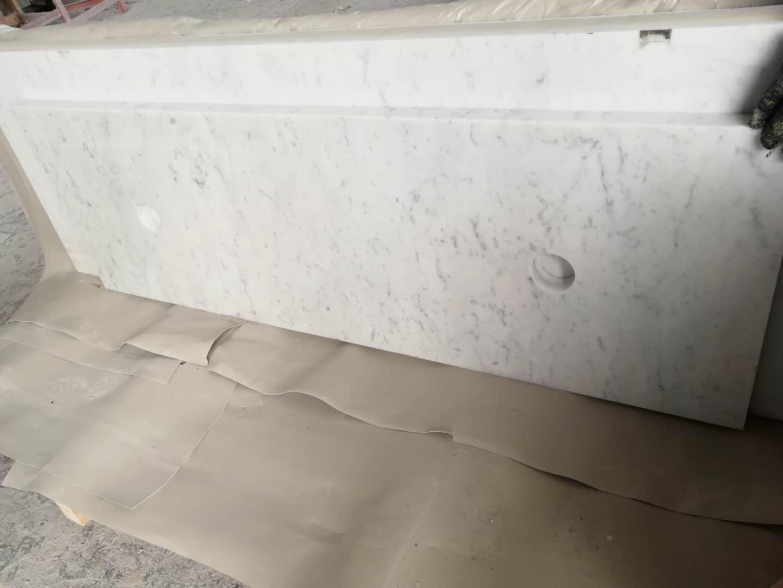 White Carrera Marble Bathroom Countertops