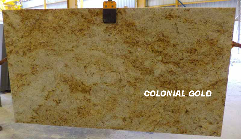 Colonial Gold Granite Slabs Polished Yellow Granite Slabs