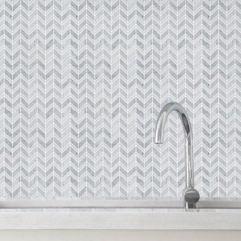 Chevron Herringbone Marble Mosaic Tiles