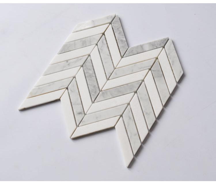 carrara white white crystial chevron herringbone marble mosaic tiles