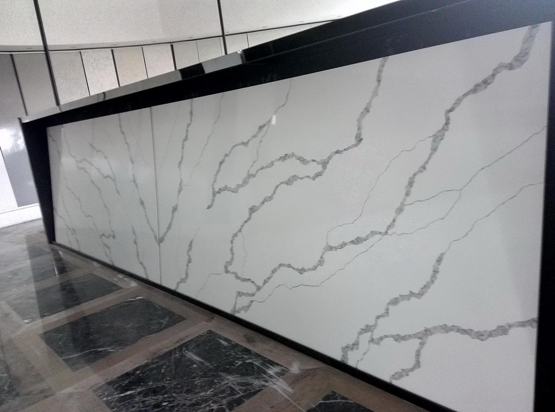 quartz stone slab Calacatta  white color for bathroom