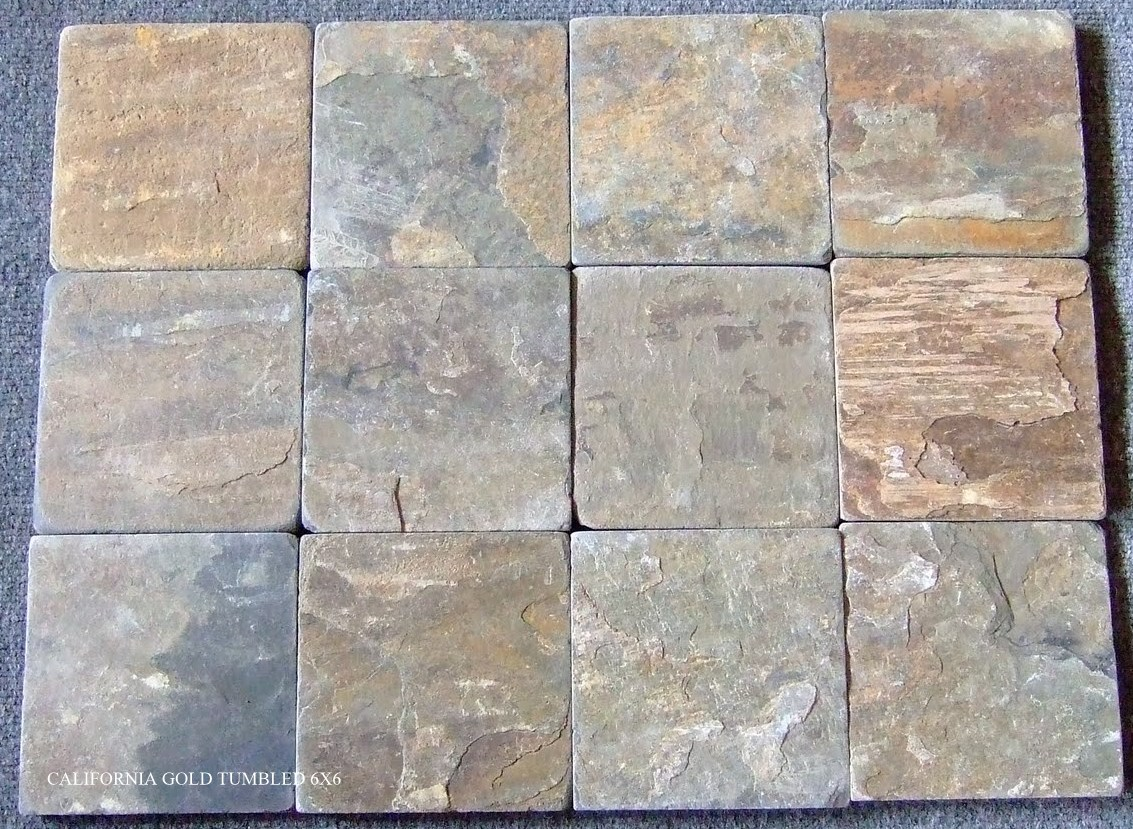 California Gold 6x6 Tumbled Slate Tiles