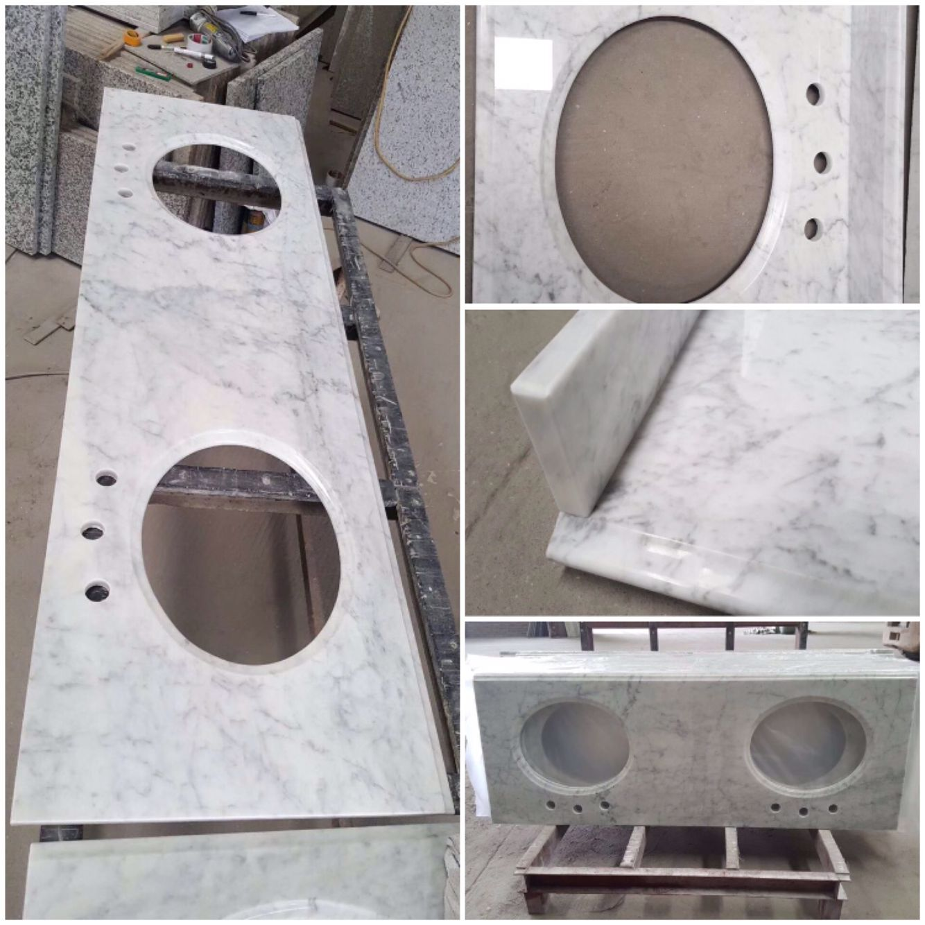 Cararra White Bathroom Vanity Tops