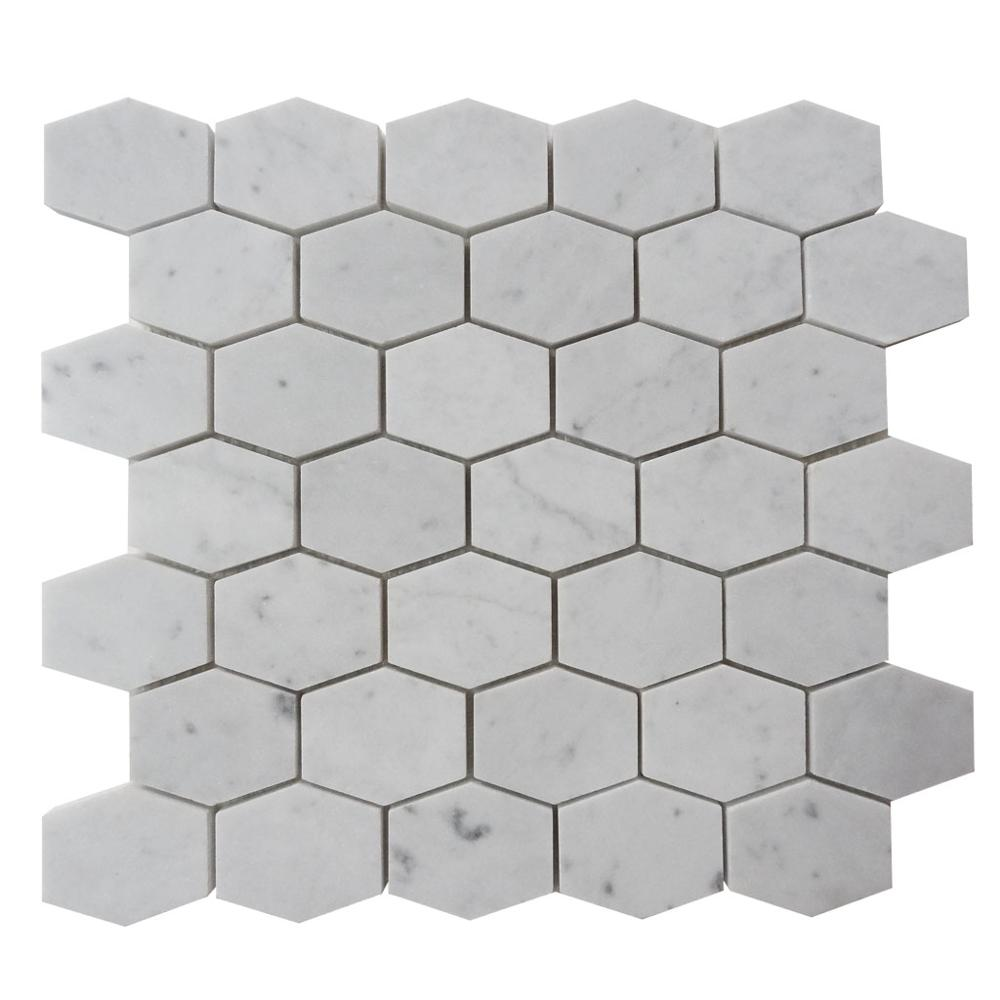 Carrara White Long Hexagon Mosaic Marble Tile